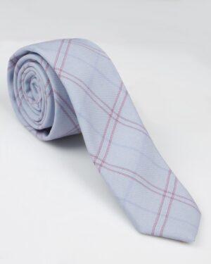 کراوات نخی طرح چهارخانه - آبی آسمانی
