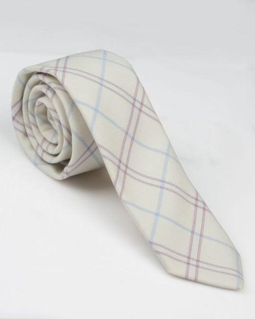 کراوات نخی طرح چهارخانه - خاکستری محو