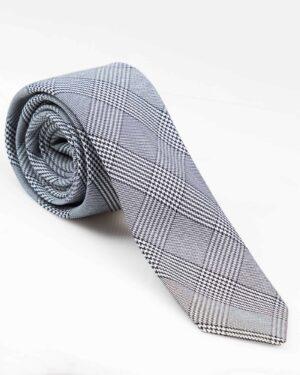 کراوات نخی طوسی طرح دار