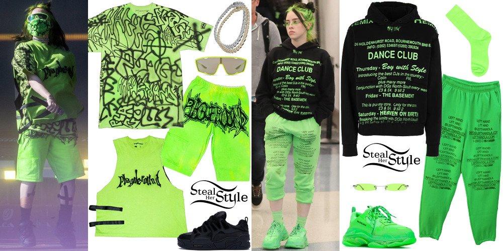 بیلی آیلیش چه می پوشد؟ لباس های سبز فسفری انتخابی این خواننده که همرنگ موهایش است