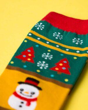 جوراب نخی آدم برفی کریسمسی - خردلی - آدمبرفی و کاج و برف