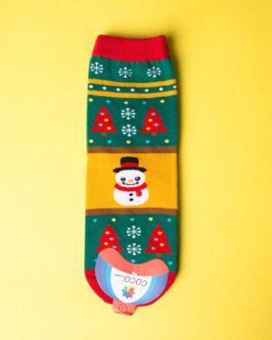 جوراب نخی آدم برفی کریسمسی - خردلی - ساق کوتاه