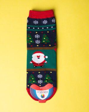 جوراب نخی بابانوئل و کاج - سرمهای تیره - ساق کوتاه