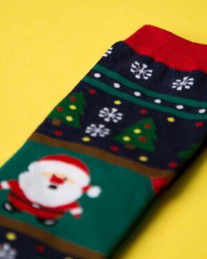 جوراب نخی بابانوئل و کاج - سرمهای تیره - کریسمسی