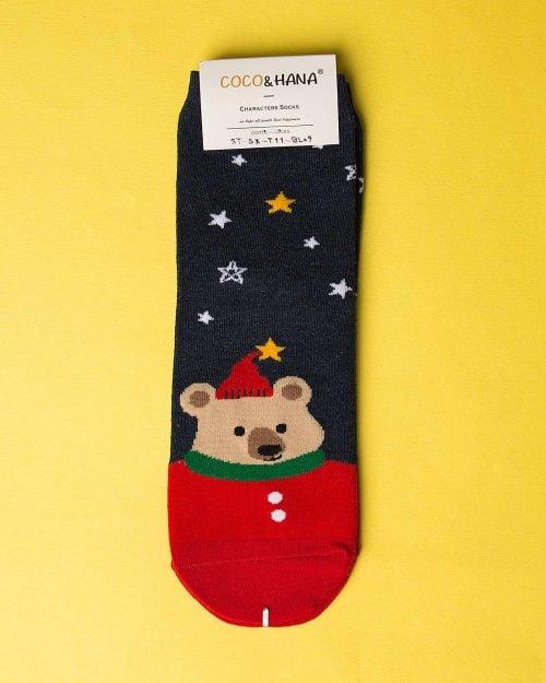 جوراب نخی خرس و ستاره - سرمهای تیره - ساق کوتاه