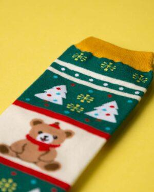 جوراب نخی خرس کریسمسی - سبز - خرس و کاج رنگی