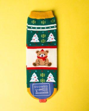 جوراب نخی خرس کریسمسی - سبز - ساق کوتاه