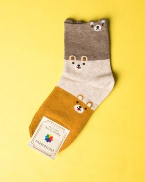 جوراب نخی سه رنگ طرحدار - خردلی - رو به رو