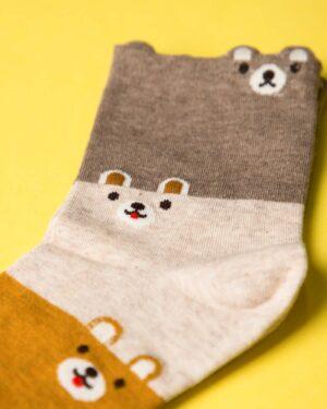 جوراب نخی سه رنگ طرحدار - خردلی - ساق کوتاه