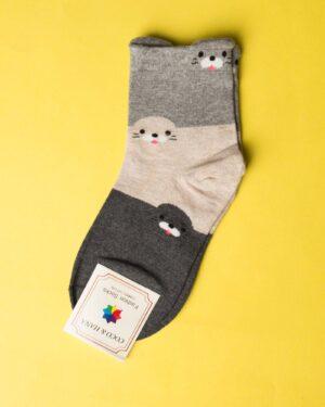 جوراب نخی سه رنگ طرحدار - دودی - رو به رو