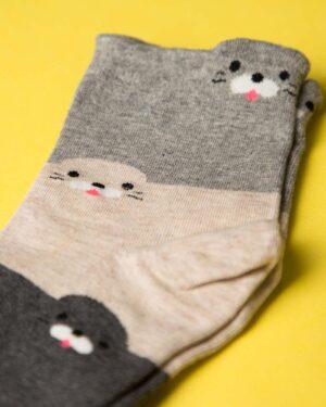 جوراب نخی سه رنگ طرحدار - دودی - ساق کوتاه