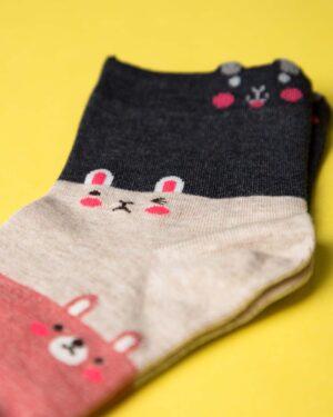 جوراب نخی سه رنگ طرحدار - صورتی - ساق کوتاه