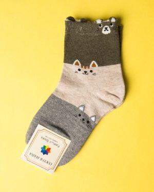 جوراب نخی سه رنگ طرحدار - طوسی - رو به رو