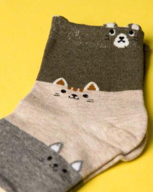 جوراب نخی سه رنگ طرحدار - طوسی - ساق کوتاه