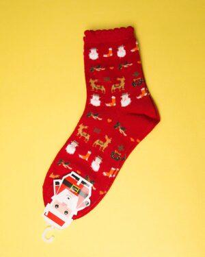 جوراب نخی طرحدار کریسمس-روبه رو