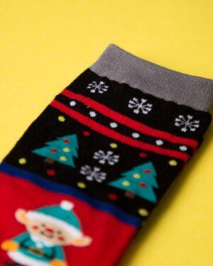 جوراب نخی طرحدار درخت کاج - مشکی - رنگارنگ