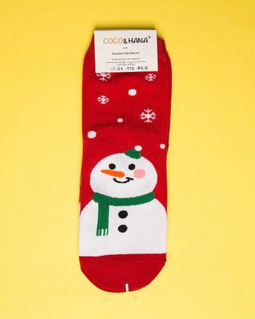 جوراب نخی طرح آدم برفی-روبه رو