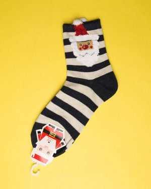 جوراب نخی طرح بابانوئل-روبه رو