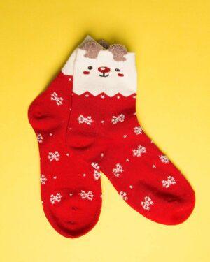 جوراب نخی طرح برف و زمستان-روبه رو