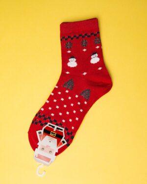 جوراب نخی طرح درخت کریسمس-روبه رو