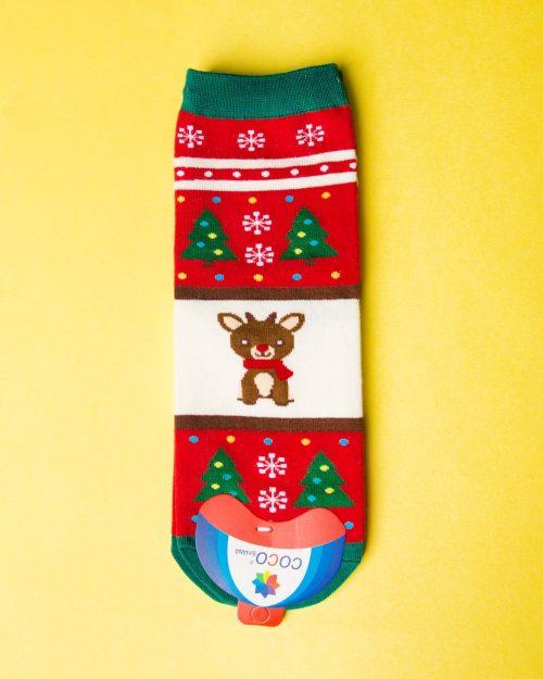 جوراب نخی گوزن کریسمسی - قرمز - ساق کوتاه