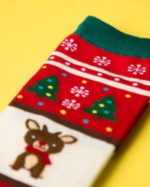 جوراب نخی گوزن کریسمسی - قرمز - گوزن و کاج و برف