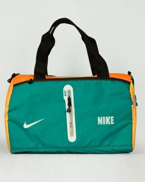 ساک ورزشی طرحدار نارنجی سبز - خزهای - رو به رو
