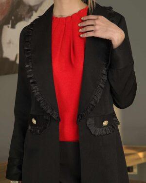 شومیز آستین حلقهای زنانه - قرمز - تاپ زنانه-محیطی