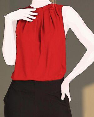 شومیز آستین حلقهای زنانه - قرمز - دخترانه-روبه-رو