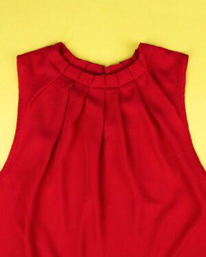 شومیز آستین حلقهای زنانه - قرمز - یقه پلیسهای