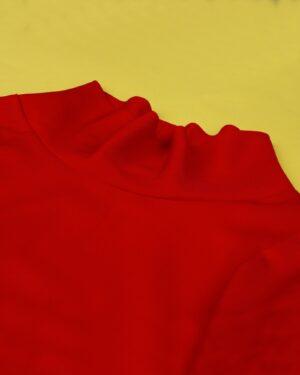 شومیز زنانه آستین فانوسی - قرمز روشن - یقه دراپه (شل)