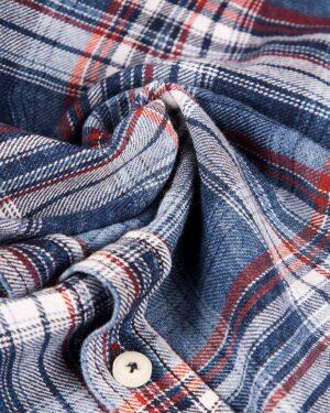 شومیز چهارخانه جین - آبی قرمز - جین طرحدار