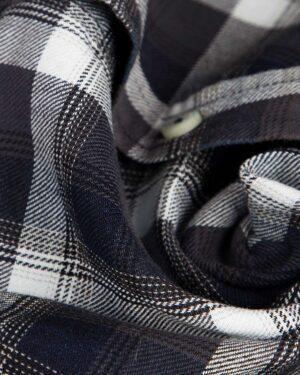 شومیز چهارخانه جین - دودی سفید - جین طرحدار