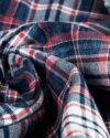 شومیز چهارخانه جین - سرمهای سفید قرمز - جین طرحدار