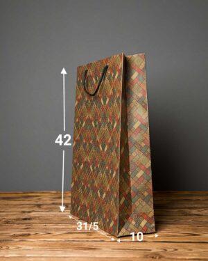 پاکت کادویی بزرگ طرحدار لوزی - زیتونی - ابعاد