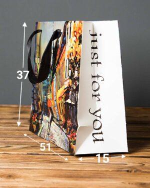 پاکت کادویی بزرگ طرح نقاشی آبرنگ - چند رنگ - ابعاد