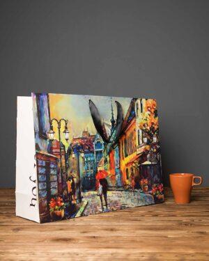 پاکت کادویی بزرگ طرح نقاشی آبرنگ - چند رنگ - دسته دار