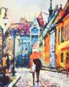پاکت کادویی بزرگ طرح نقاشی آبرنگ - چند رنگ - طرح شهر