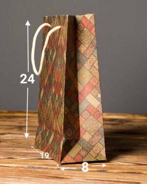 پاکت کادویی طرحدار لوزی - زیتونی - ابعاد