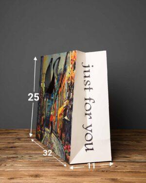 پاکت کادویی طرح نقاشی آبرنگ - چند رنگ - ابعاد