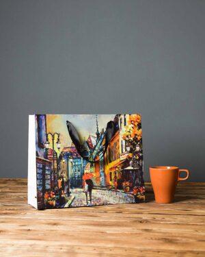 پاکت کادویی طرح نقاشی آبرنگ - چند رنگ - دسته دار