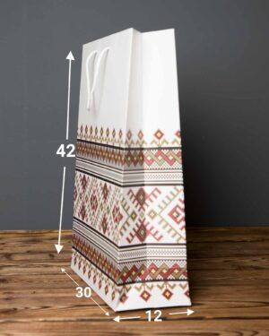 پاکت کادویی طرح گلیم - سفید - ابعاد