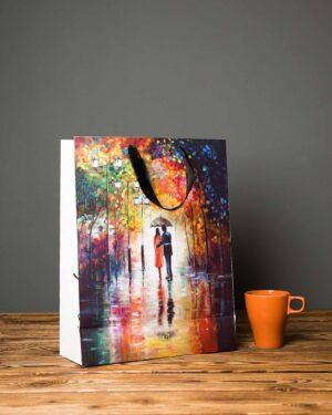 پاکت کادویی نقاشی رنگ روغن - چند رنگ - دسته دار