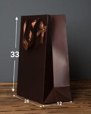پاکت کادویی پاپیوندار قهوهای - قهوه ای - ابعاد