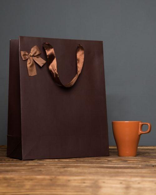 پاکت کادویی پاپیوندار قهوهای - قهوه ای - سایز بزرگ