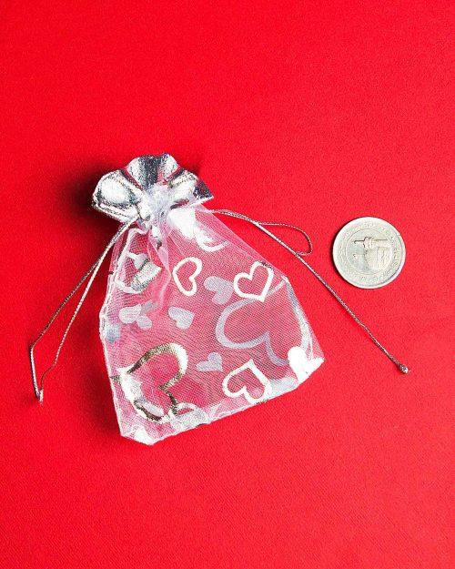 کیسه توری نقرهای طرح قلب - کوچک