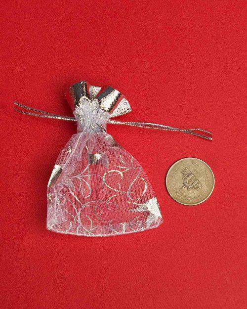 کیسه توری نقرهای طرح لاله - کوچک