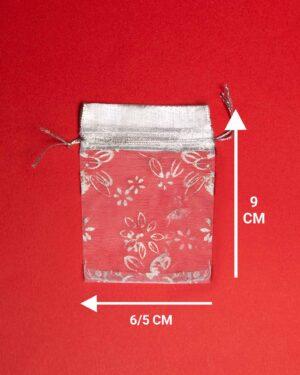کیسه توری نقرهای طرح گل - ابعاد