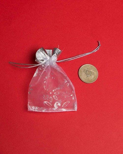کیسه توری نقرهای طرح گل - کیسه هدیه