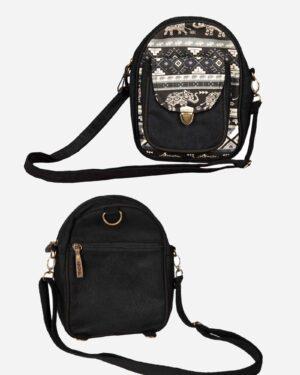 کیف دوشی اسپرت دخترانه - مشکی - نمای جلو و پشت